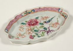 A Chinese famille-rose spoon tray, Qianlong, of shaped oval form,