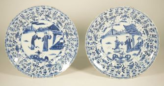 A pair of Chinese blue and white dishes, Kangxi,