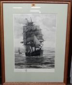 William Edward Norton (1843-1916), Tall ship; Sailing boats, a pair of etchings, both signed,
