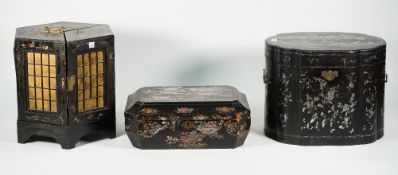 A Chinese chinoiserie decorated table cabinet, early 20th century, of hexagonal form containing,