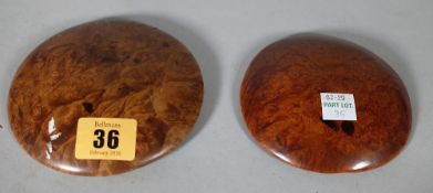 Two Chinese burlwood large buttons, Qing dynasty, probably 19th century,