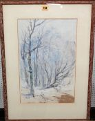 Attributed to Harry Phelan Gibb (1870-1948), Winter woodland scene, watercolour and gouache,