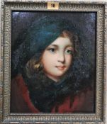 English School (19th century), Head study of a child, oil on canvas laid on board, 29.5cm x 24.5cm.