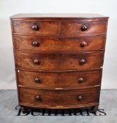 A 19th century mahogany bowfront chest of two short and four long graduated drawers,