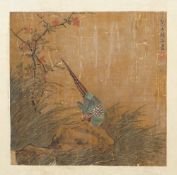 Chinese school, possibly Ming dynasty, a painting of a pheasant perched on rocks,