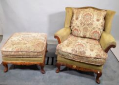 Criterion Cords; a pair of Victorian style stained beech framed low wingback armchairs,