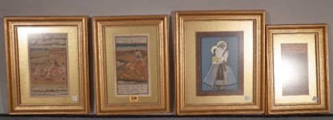 A group of four Indian miniature paintings, each painted with lovers, framed and glazed, (4).