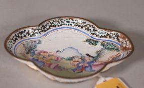 A small Canton enamel European subject quatrelobed dish, Qianlong,