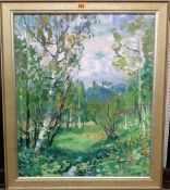 Russian School (20th century), Wooded scene, oil on board, signed and dated '94, 51cm x 42cm.