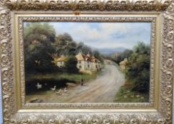 ** Sox (19th century), Village scene, oil on canvas, signed and dated '86, 33cm x 51cm.