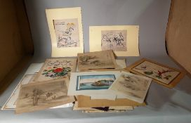 A quantity of Chinese paintings, various subjects and sizes, unframed.