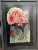 Bea Blase (late 20th century), Abstract, mixed media on fabric, signed and dated SEPTEMBER 1990,