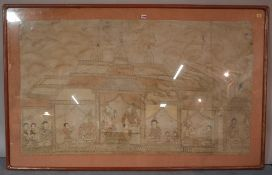 A large Thai painting, ink and wash on linen, painted with figures and attendants in a palace, 85cm.