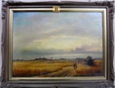 English School (19th century), Figures in a cornfield, oil on canvas, 28.5cm x 40cm.