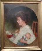 English School, 19th century, Profile portrait of a child with her dolls, oil on canvas,