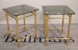 A pair of mid-20th century brass and glass square side tables, 45cm wide x 57cm high, (2).