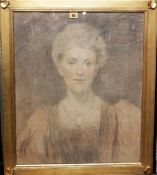 English School, circa 1900, Portrait of a lady, pencil and coloured chalk, 59.5cm x 49cm.