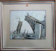 After Sydney Ure Smith, The Construction of Sydney Harbour Bridge, colour print, 30cm x 37cm.