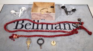 Collectables, including; an early 20th century bannister rope, door knockers,