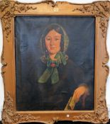 English Provincial School (19th Century) Portrait of a Lady, oil on canvas,