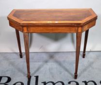 A late George III satin wood banded mahogany canted rectangular card table, 91cm wide x 69cm high.