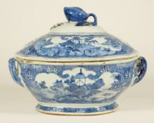A Chinese export blue and white shaped oval tureen and cover, Qianlong,