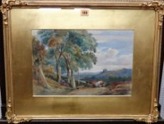 English School 19th/ 20th century, Cattle and figure in a wooded landscape, watercolour, 25.