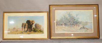 David Shepherd (1931-2017), Greater Kudu, colour print, signed, 48cm x 80cm,