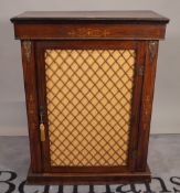 A Victorian marquetry inlaid walnut pier cabinet, with single brass grille door, on plinth base,
