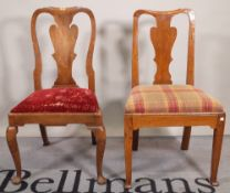 A Queen Anne mahogany vase back dining chair,
