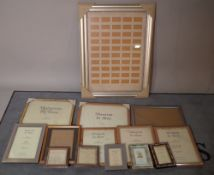 A quantity of 20th century picture frames of various sizes, the largest 62cm wide x 83cm high,