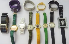 A group of twelve modern fashion wristwatches, including; Techno Marine, Gucci, Swatch,