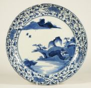 An Arita blue and white dish, Edo period,