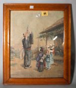 A Japanese watercolour painting on linen, 20th century,