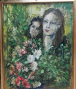 Continental School (contemporary), two figures with flowers, oil on canvas,