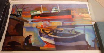 Gabrielle Couderc, Cargo Ship in sete,lithograph in colours,