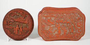 A Chinese cinnabar lacquer circular box and cover, Qing dynasty,