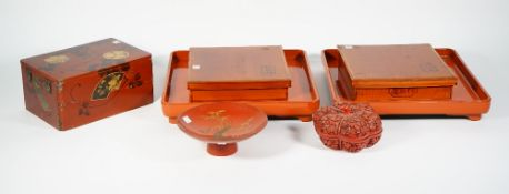 A Chinese cinnabar lacquer bowl and cover of lobed fruit form, 15cm diameter,