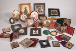 A quantity of early 20th century negative photographs within gilt metal frames and sundry, (qty).