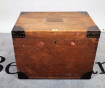 An early 20th century oak and iron bound silver chest, 53cm wide x 39cm high.