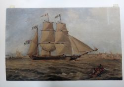 M**I**R (19th century) Clipper off the coast, watercolour, signed with initials and dated 1867,