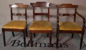 A made up set of eight early 19th century mahogany dining chairs, to include a pair of carvers, (8).