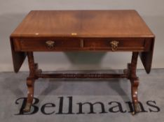 A late George III mahogany drop flap sofa table, with pair of frieze drawers,
