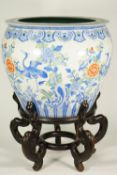 A large Chinese porcelain polychrome jardiniere, modern,