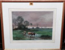 Henry Charles Fox (1860-1929), Cattle grazing, watercolour and bodycolour, 25cm x 35.5cm.