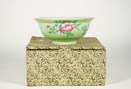A Chinese sgraffito green-ground famille-rose bowl, blue Qianlong seal mark but later.