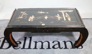 A 20th century black lacquer and mother-of-pearl decorated Chinese coffee table,