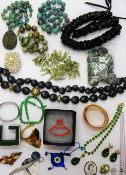 A collection of costume jewellery, including turquoise matrix beads,