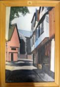 A group of five 20th century oil paintings and one watercolour, including a street scene signed F.W.