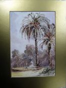 A L Burelot (19th Century), A fountain, Brisbane, watercolour, signed, inscribed and dated 1866,